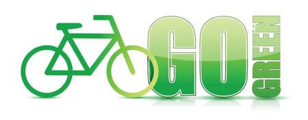 go green bike sign illustration design over white