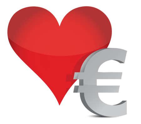 euro heart illustration design over white background Stock Vector - 16117574