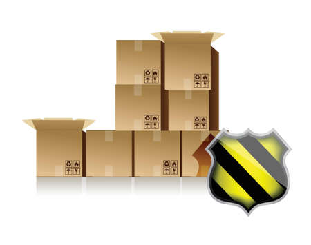 boxes and shield illustration design over white background Ilustracja