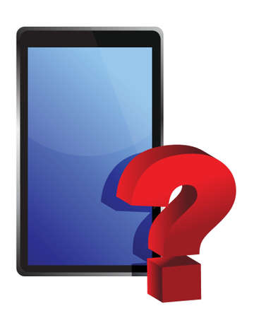 palmtop: tablet and question mark illustration design over white Illustration