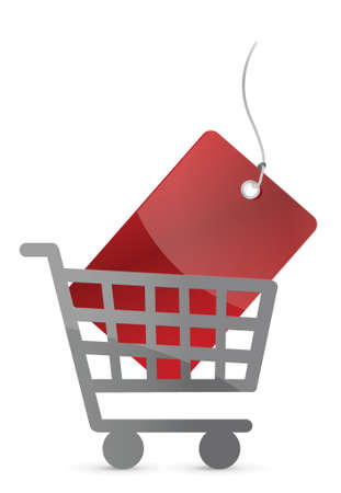shopping cart and red tag illustration design