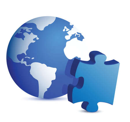 globe and puzzle piece illustration design over white Vector