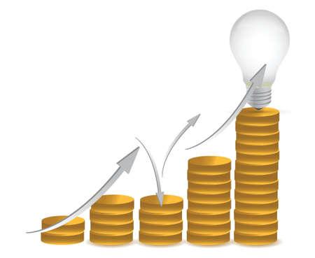 coins and lightbulb illustration design over white Illusztráció