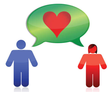 talkative: love couple illustration design over white background