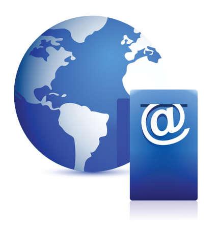 globe and mailbox illustration design over white