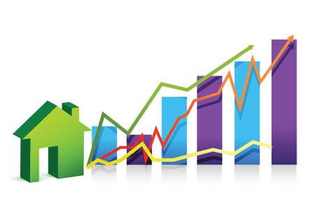 home value: house graph illustration over white background design Illustration