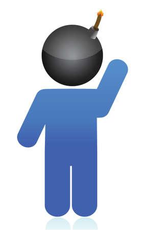 bomb head illustration icon over white background Stock Vector - 16140472