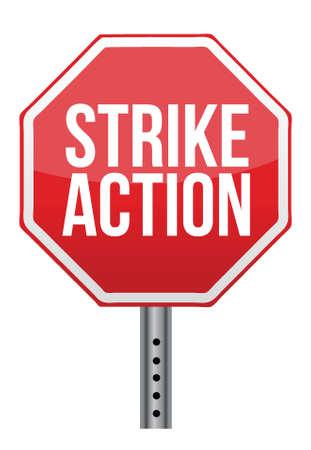 흰색 배경 위에 행동 경고 기호 파업 일러스트