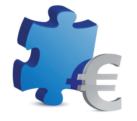 puzzle and euro illustration design over white