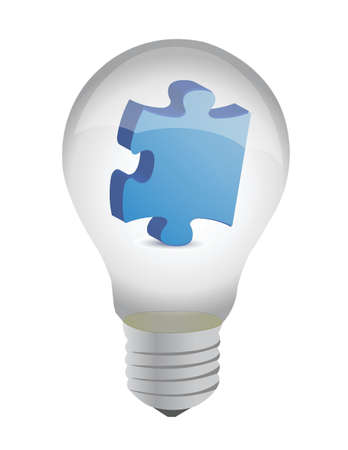 puzzle piece lightbulb illustration design over white Vector