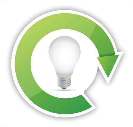 lightbulb eco cycle illustration design over white background Stock Vector - 16190655