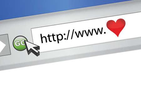 love internet browser illustration design concept graphic Illustration