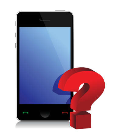 phone and question mark illustration design over white
