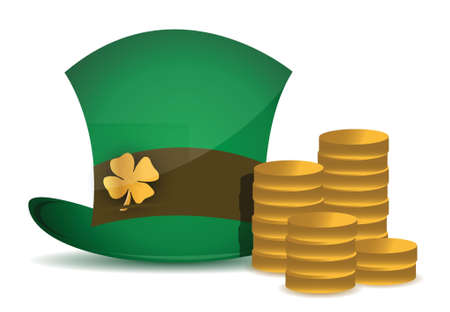 coins and saint patricks hat illustration design over white Stock Vector - 16190651