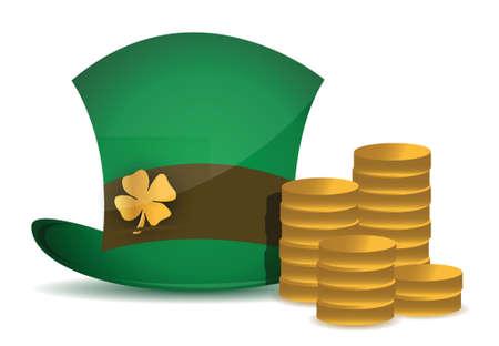 coins and saint patricks hat illustration design over white Stock Vector - 16190651