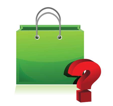 shopping bag and question mark illustration design over white 向量圖像