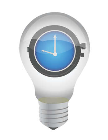 hour hand: lightbulb and watch illustration design over white