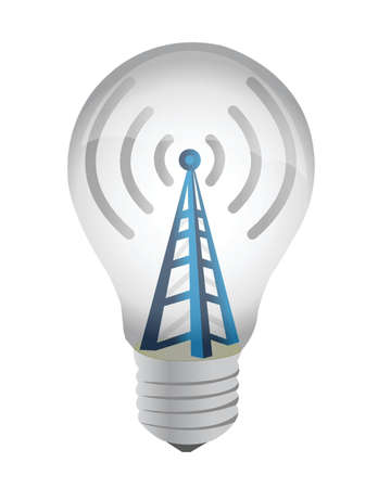 lightbulb and wifi tower illustration design over white Stock Vector - 16190653