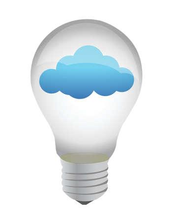 light bulb cloud eco illustration design over white Stock Vector - 16190816