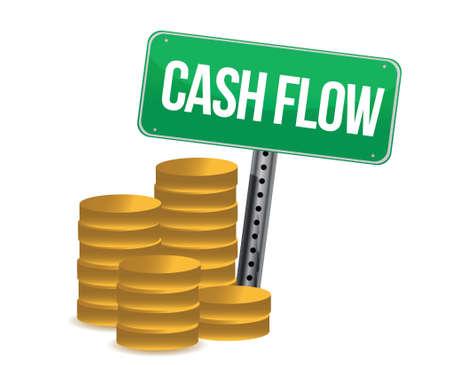flujo de dinero: flujo de caja y los signos sobre el dise�o de fondo blanco sobre blanco Vectores