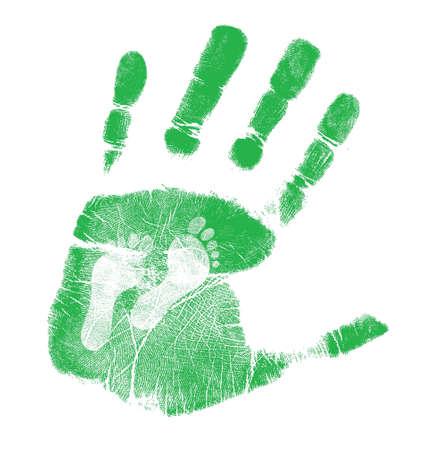 manos y pies: mano y el pie de diseño ilustración impresiones sobre fondo blanco