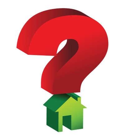 permit: question mark house illustration design over white
