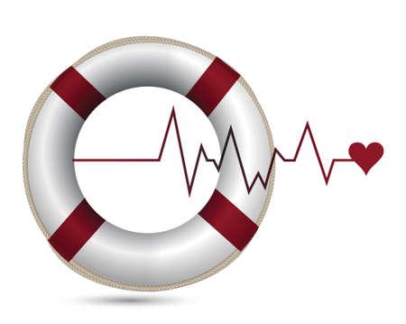 flotation: sos lifeline health care illustration design over white