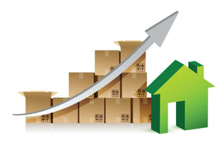 packer: house and box graph illustration design over white background