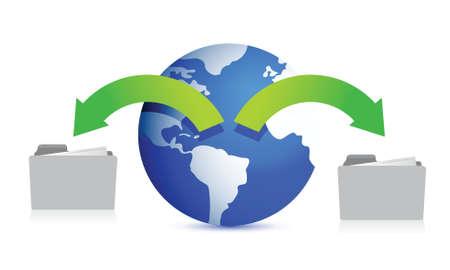 organisation: files around the globe illustration design over white Illustration