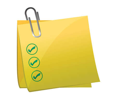bulletinboard: checkmark post it yellow illustration design over white background