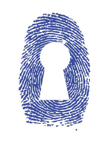 odcisk kciuka: lock konstrukcja fingerprint ilustracji na białym tle Ilustracja