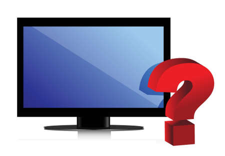 flat monitor. tv and question mark illustration design Stock Vector - 16259107