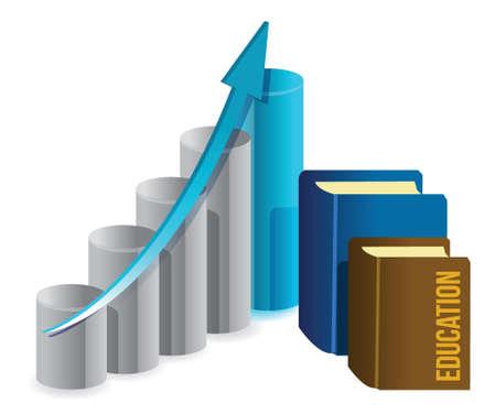 education business graph illustration design over white Stock Vector - 16259122