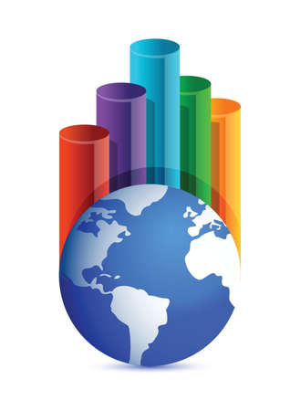 globe business graph illustration design over white background Stock Vector - 16259163