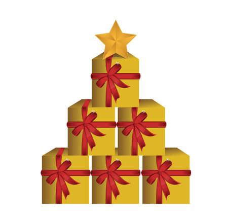 christmasy: gift boxes tree illustration design over white background