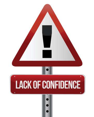 lack of confidence: lack of confidence illustration design over white background