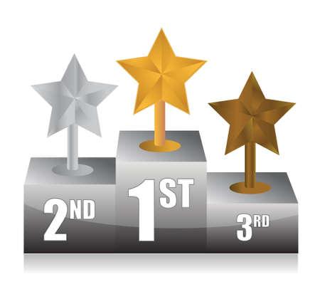 race winner: stars and podium illustration design over white