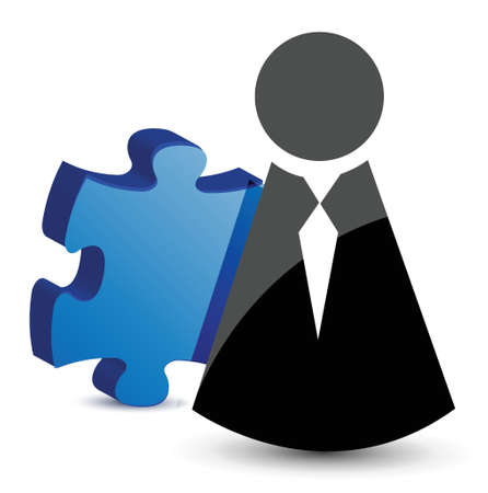 business icon and puzzle piece illustration design Stock Vector - 16259140