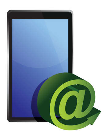 inbox: tablet mail illustration design over white background Illustration