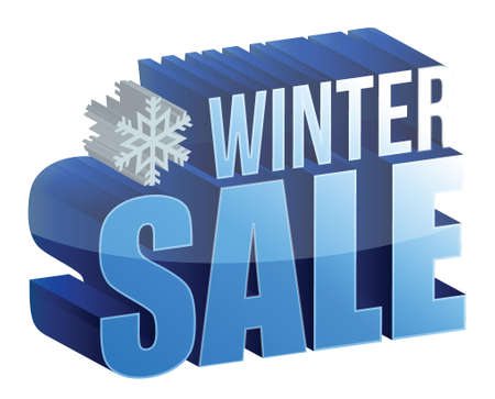 winter sale 3d text illustration design over white Vector