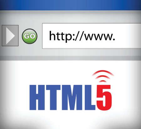 HTML 5 computer met internet browser illustratie ontwerp