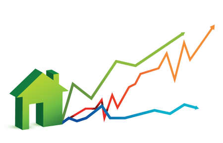 house market price arrows illustration design over white