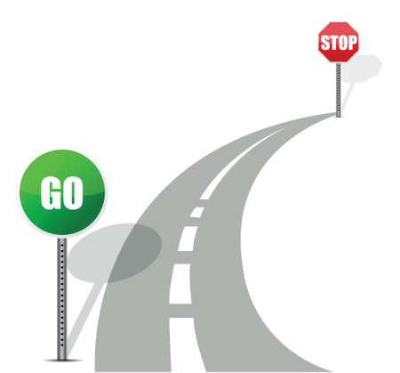 curvy: go and stop road illustration design over white