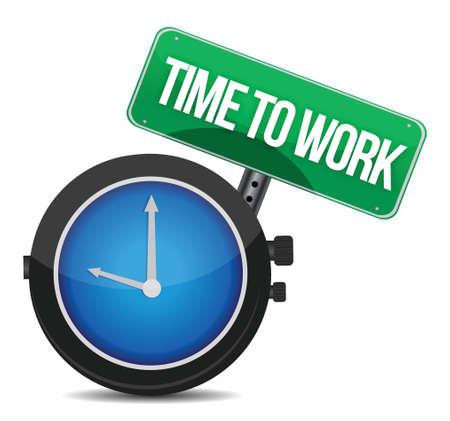 five o'clock: time to work concept illustration design over white Illustration