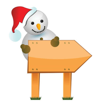broaching: wooden snowman sign illustration design over white