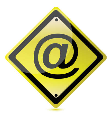 arobase: yellow att sign illustration design over a white background