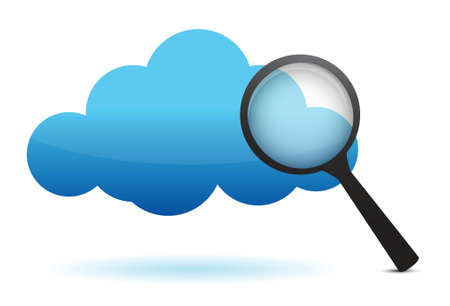 cloud and magnifier illustration design over white background Stock Vector - 16259227