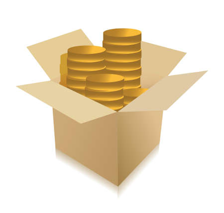 coins inside a box illustration design over white Vector