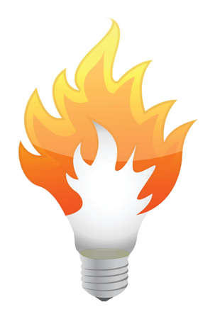 lightbulb on fire illustration design over white Stock Vector - 16259186