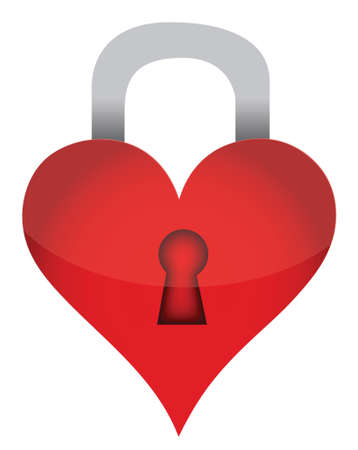 heart lock illustration design over white background design